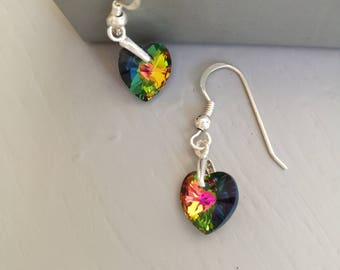 Swarovski Crystal Heart and Sterling Silver Earrings