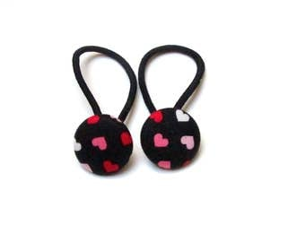 Handmade Kawaii Black Pink White Japanese Hearts Children Girl Fabric Button Ponytail Holder Elastic Hair Ties Girly Gifts