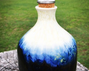 Blue crystalline glazed oil bottle