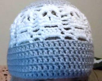 Crocheted multicolored three stripe skull beanie / cap.  Made to order.