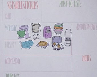 Baking Stickers, eggs stickers, cupcakes stickers, gliter stickers, planner stickers, cooking gloves stickers, planner baking stickers