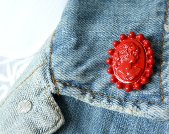 Red Cameo Lapel Pin (large)