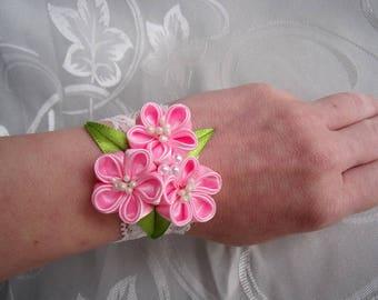 Bracelet bride pink/Bracelet maid of honor/Bracelet with satin ribbon kanzashi flowers