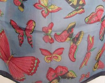 100% fine Indian butterfly silk scarf - long
