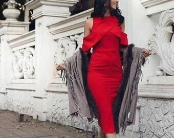 Tasha Cold shoulder dress in Red