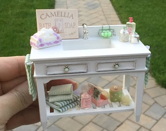 Shabby White Bathroom Sink Decorated Cabinet - IGMA Artisan Diane Paone Dollhouse Miniature