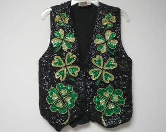 Fashion Fantasy . Lucky Clover beaded black vest . fits like a large