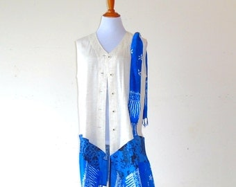 XL - Plus Size ~ Linen & Cerulean Blue Fringed Scarf Duster ~tunic top gypsy kimono shawl boho chic upcycled handmade clothing wearable art