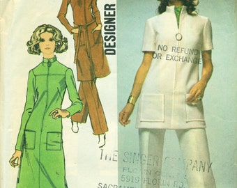 Simplicity 9509 Bust 40 Dress Tunic Pants Size 18 Front Zip Designer Fashion VINTAGE 1970s ©1971