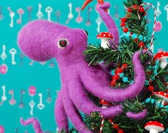 Print: Holiday Octopus - Christmas Wall decor Tree Decoration Ornament Felt Diorama Photo Turquoise Blue Toy Purple Fuchsia Pink Starfish