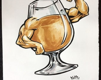 Golden Strong Ale original ink and watercolor painting