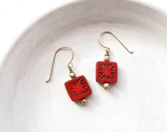 Tiny Earrings / Red Earrings / Simple Earrings / Stocking Stuffer / Gift Under 15 / Gift for Her / Made in Montana / Beaded Dangle Earrings