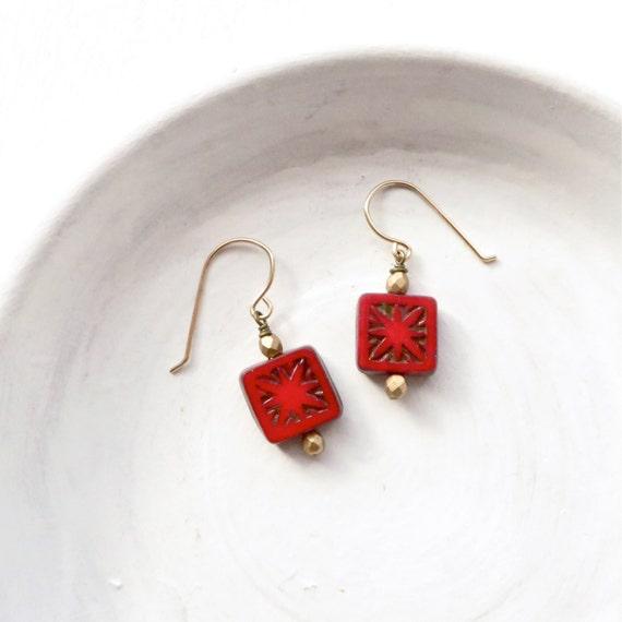 Dainty Earrings > Red