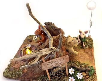 Storybook | Sculpey | Winnie the Pooh | Fairy Tale | A. A. Milne | Figurine | Piglet & Rabbit | Light | Art Doll | Diorama | 100 AKER WOOD
