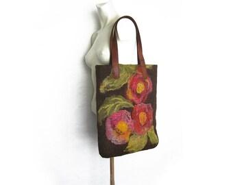 Tote Bag, Felted Handbag, Felted Tote, Shoulder Bag, Floral Felt Bag, Winter Bag, Boho Bag, Hand Felted Bag, Women Bag, Gift for Her