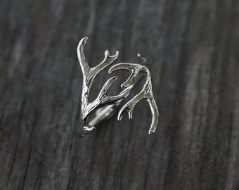 Sterling silver antler ring - modern jewelry - fairytale jewelry - woodland - deer ring - dainty ring - delicate ring