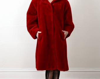 SALE Red FAUX Fur COAT