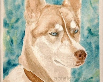 GICLEE PRINT WATERCOLOUR. Pet Portrait Husky / Signed and Numbered Archival Print
