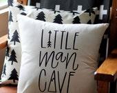 Little Man Cave Hand drawn Nursery Pillow Mountain Arrow Adventure Explore Forest Theme 16 x16 Trees Handwritten