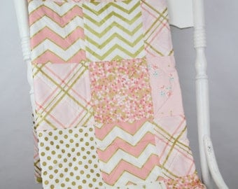 Baby Quilt Pink, Peach, Coral and Gold Baby Girl Comforter Blanket Bedding