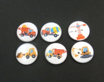6 Construction Vehicle Buttons.  Truck Buttons.  Construction Buttons.  Dump Truck, Back Hoe, Crane, Cement Truck