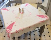 Vintage Nautical Tablecloth Red Sailboats