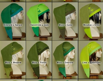 Legend of Zelda - handmade custom cosplay Link hat in Your Color Choice - fleece fabric caps