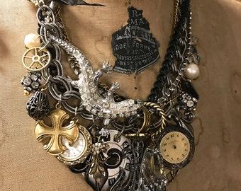 Charm Necklace, Bib Necklace, Statement Bib, Steampunk Necklace, Lizard Brooch, OOAK