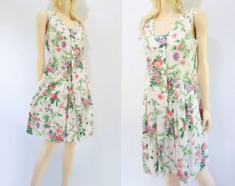 White Floral Dress 80s Floral Dress Cotton Mini Dress 80s Floral Day Dress Pink Mauve Floral Morning Glory Dress Cotton Summer Dress s