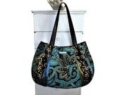 ON SALE BLUE Curacao Large Hobo = dark & light turquoise, black, gold, olive  satin paisley floral scroll metallic gold magnetic snap by jen
