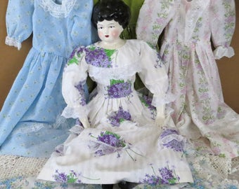 """Vintage China Head Doll and Dresses, As-is Porcelain Head,  Cloth Torso Body, Handmade Doll Clothes, Nightie,  25"""" Doll Making Supply"""