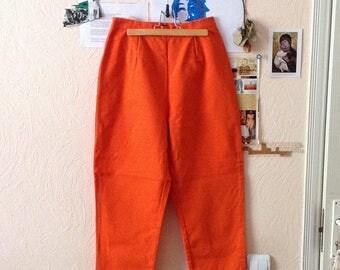 Vintage High Waist Pants Orange Pants Trousers Womens M Medium