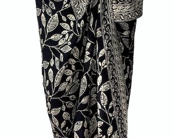 Black Beach Sarong Skirt Batik Pareo Women's Clothing Wrap Skirt - Hawaiian Maile Leaves Batik Pareo - Black & Creamy White Beach Sarong