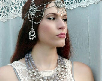 Art Nouveau Deco Headpiece,  Vintage Rhinestone, Antique Crystal, Silver Filigree One of a Kind Handmade Goddess Headdress Weddings, Formal