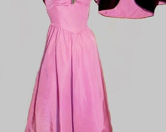 Vintage 1930s Pink Formal Dress  with Bolero - 30s 40s Pink and Wine High End Evening Gown with Bolero S XS - on sale