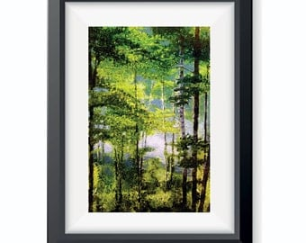 Birch Tree Print, Forest Painting, Wisconsin Art, Home, Living Room, Woods, Tree Print, Original Painting, Landscape, Nature Art, Decor
