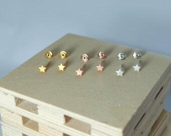 star earrings, stud earrings, gold stars, sterling silver 925, stars, gold-plated stars, rose gold stars, silver stars, black stars,handmade