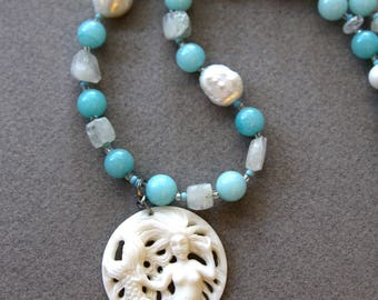 Carved Mermaid Necklace Bone Pendant from Bali w Amazonite Pearl and Moonstone Aqua and Cream Beach Ocean Jewelry