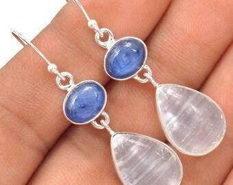 Selenite Earrings Teardrop Silky White Selenite Earrings with Blue Kyanite Cabochons in Solid Sterling Both Selenite and Kyanite High Energy