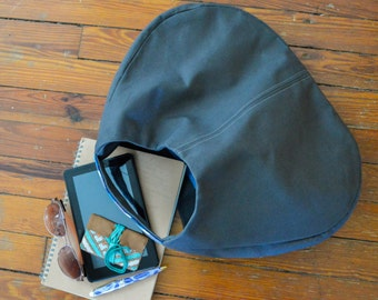 Hobo Bag - Boho Style Canvas Bag with Needlepoint Band