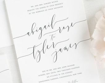 Romantic Calligraphy Wedding Invitations - Deposit