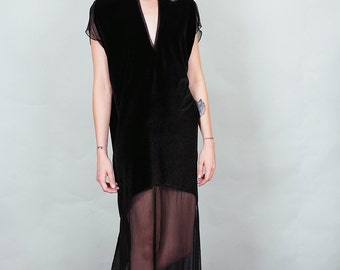 Spellbound - black velvet and sheer maxi dress with thigh slits deep v-cut