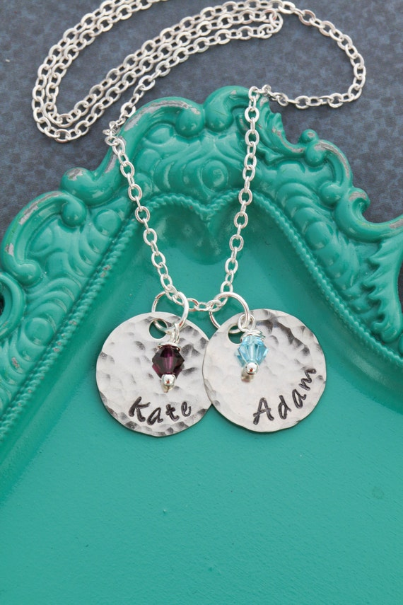 SALE • Custom Mommy Necklace • Dainty Birthstone Necklace • Unique Name Necklace • Stamped Mom Gift • New Mom •Hand Stamped Necklace
