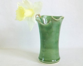 Vase  - Lovely Spring Green with Hand - Cut and Altered Rim - Ready to Ship