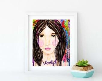 Lovely Mixed Media Girl Collage Giclee Art Print Original Art Print 8x10