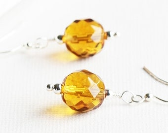 Amber Yellow Faceted Glass Dangle Earrings on Silver Plated Hooks, Czech Glass Jewelry