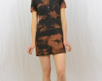 Vintage Bleach Destroyed Mini Dress, Size XS-Small, Petite, Stretchy Dress, Fitted Dress, Apocalyptic, Punk, Riot Girl, Collared, Grunge