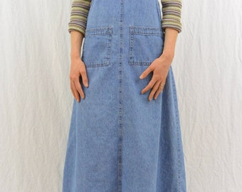 Vintage Denim Jumper, Size XS, Maxi Jumper, Grunge, Hipster, Rad, Tumblr Clothing, Skater, 90's, Distressed, Overall Dress