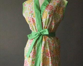 Vintage 60's Bright Lime Green, Coral, and Yellow Floral Cotton Wrap Kimono Blouse, size L