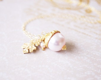 Necklace, Acorn Necklace, Gold Necklace, Pearl Necklace, Pink Necklace, Peter Pan Necklace, Swarovski Necklace, Handmade Necklace, Gift
